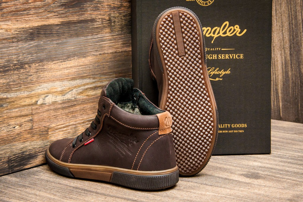 Зимние кожаные ботинки Wrangler Dakota Dark Brown