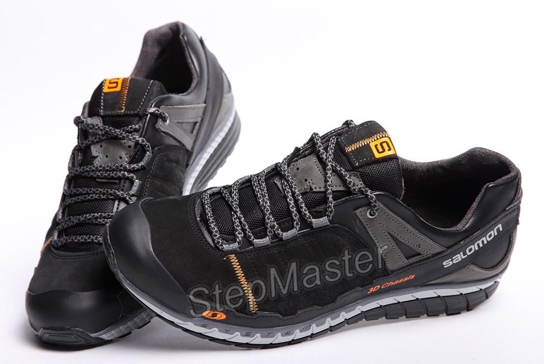 Кожаные кроссовки Salomon 3D Chassis Black