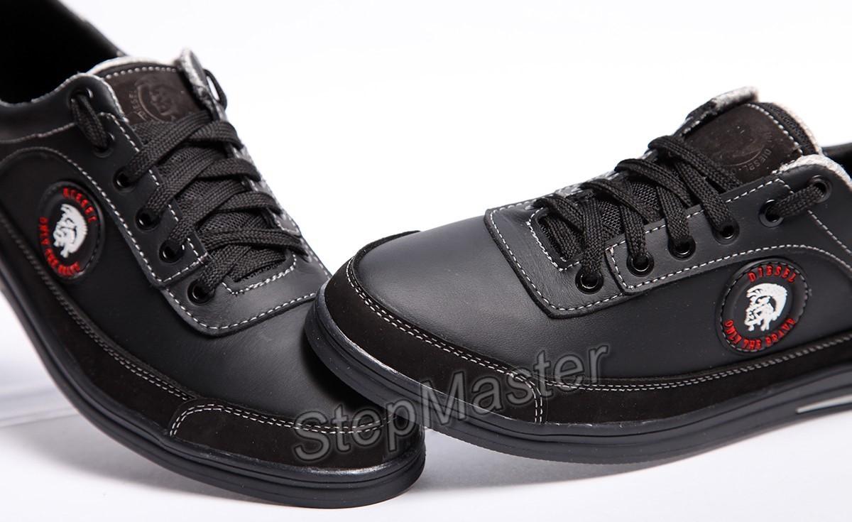 Кеды кожаные Diesel Brave черные - распродажа
