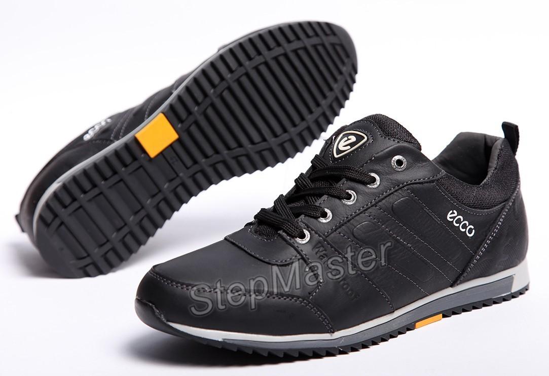 Кроссовки кожаные мужские ECCO Black Leather
