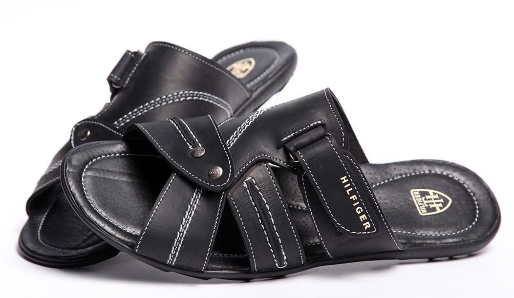 Шлепанцы кожаные Tommy Hilfiger Black