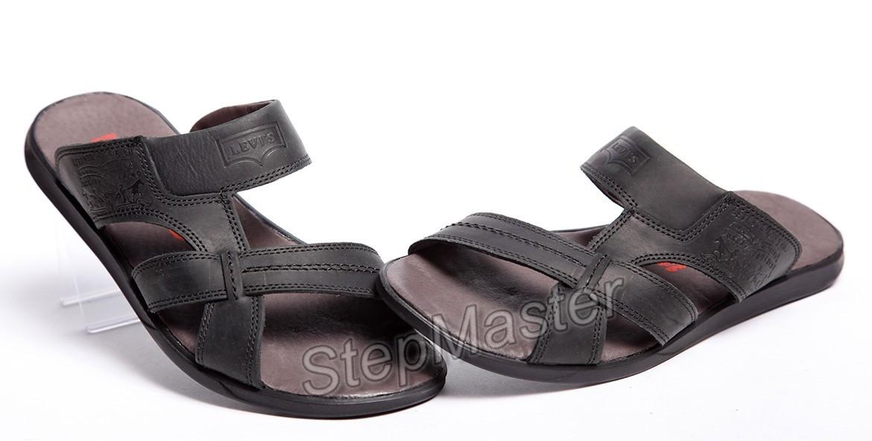 Шлепанцы мужские кожаные Levis Black
