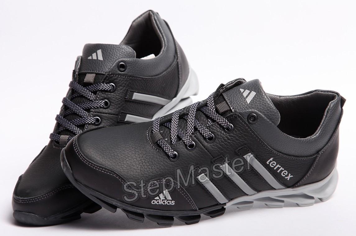 Кроссовки кожаные мужские Adidas Terrex Black-Grey