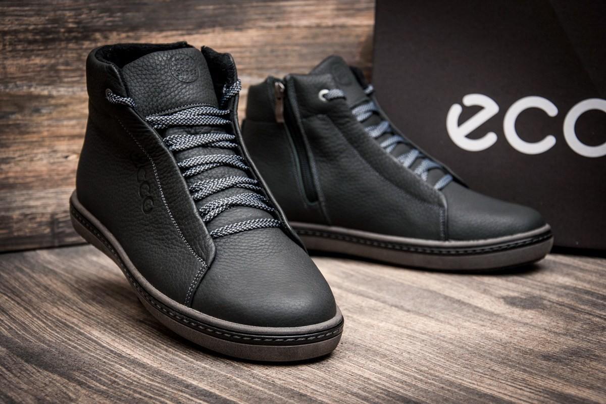 Кроссовки кожаные зимние ECCO Black