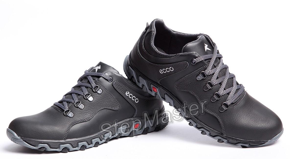 Кроссовки кожаные ECCO Track Black-Grey