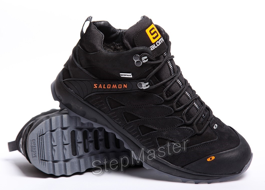 Кроссовки кожаные зимние Salomon Dragon Skin Winter Black