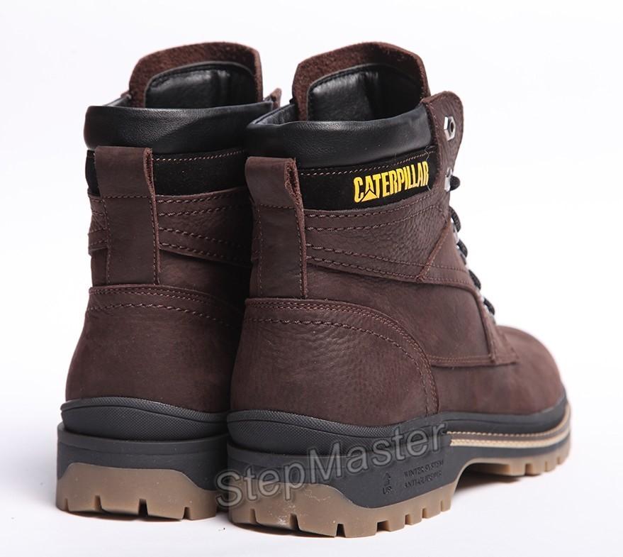 Зимние кожаные ботинки на меху CAT Caterpillar Anti-Glide Brown