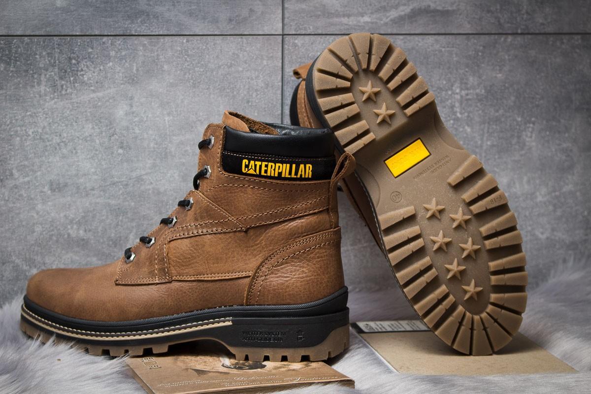 Зимние кожаные ботинки на меху CAT Caterpillar Anti-Glide Olive