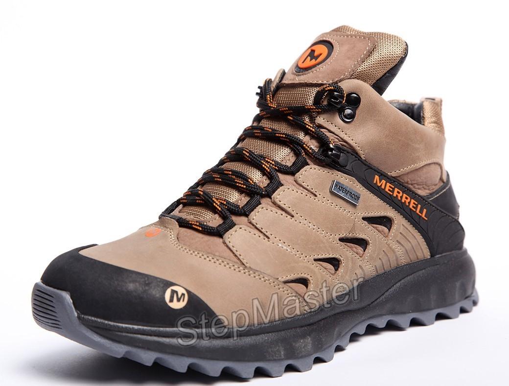 Зимние кожаные кроссовки на меху Merrell Nubuck Olive