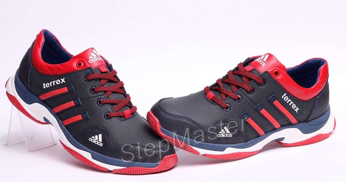 Кроссовки кожаные мужские Adidas Terrex Blue-Red