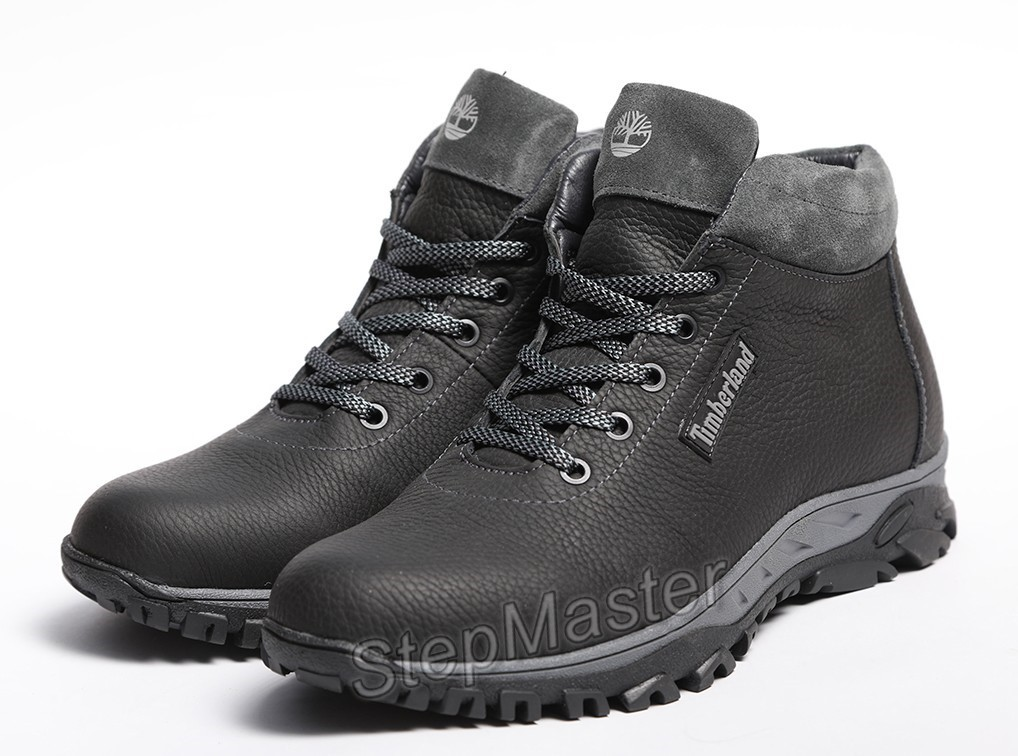 Кроссовки кожаные зимние Timberland Black-Grey