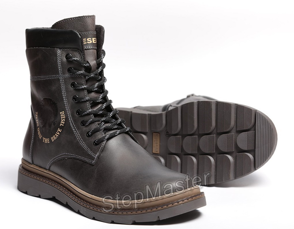 Ботинки кожаные зимние Diesel Cassidy Combat Grey Marble