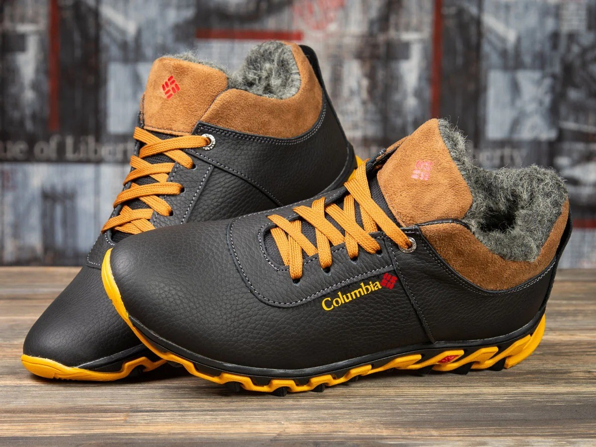 Кроссовки кожаные зимние Columbia Track Black Brown