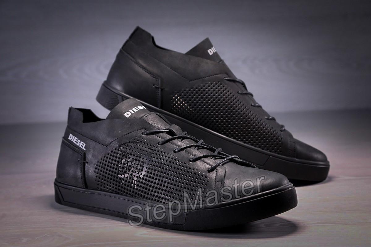 Кеды кроссовки кожаные с перфорацией Diesel Pirate Black