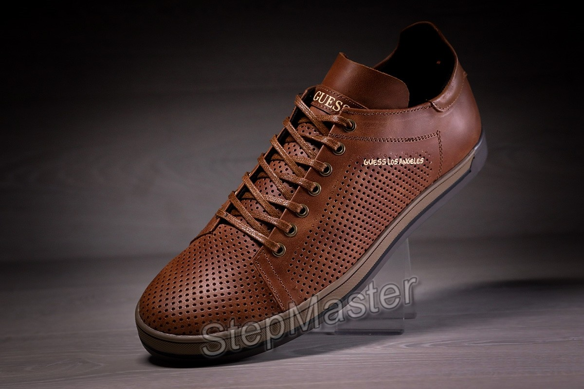 Кеды кроссовки кожаные с перфорацией Guess Los Angeles Olive
