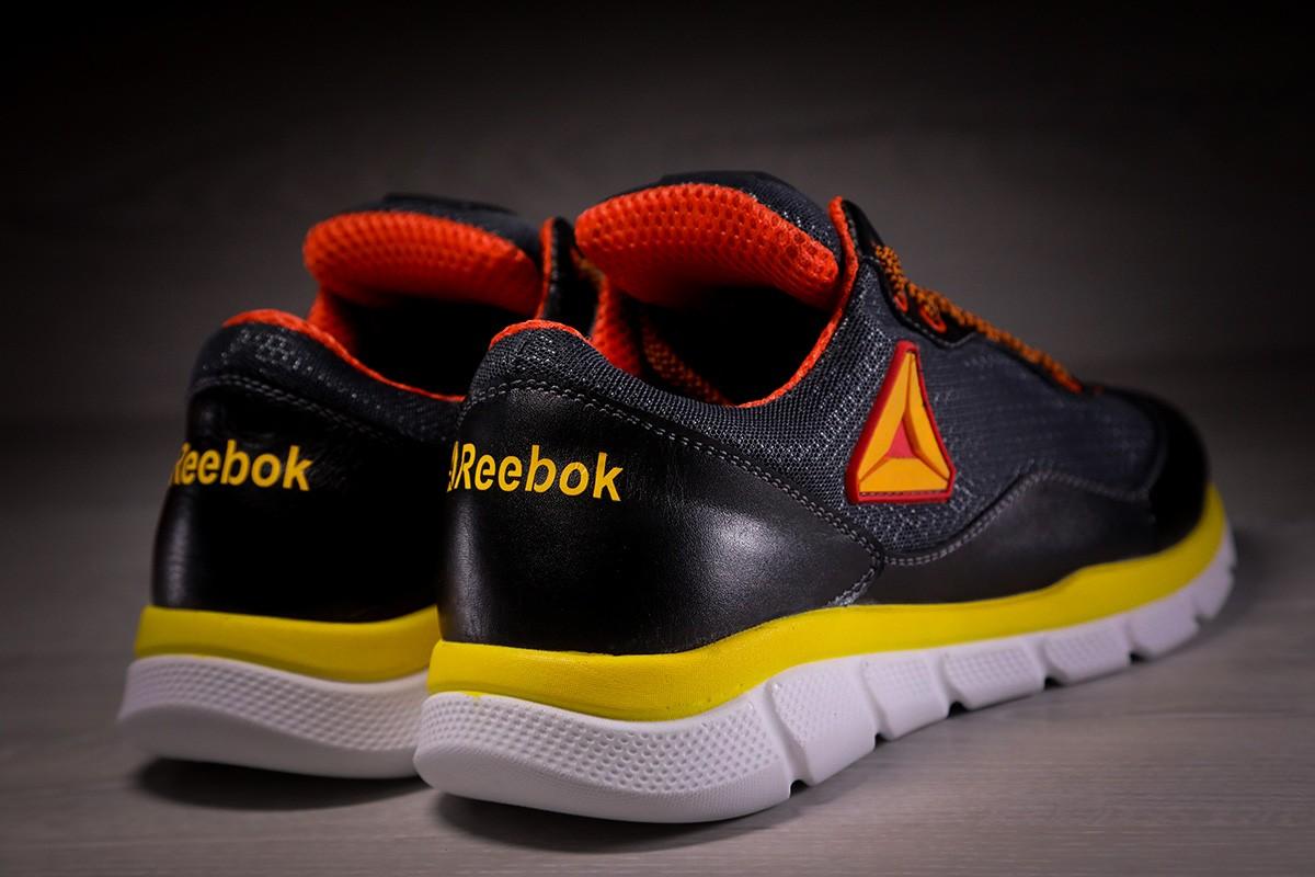 Кроссовки мужские Reebok Black Orange кожа сетка