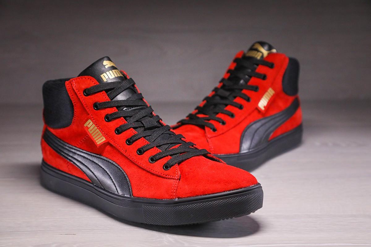 Кожаные кеды Puma Suede black-red