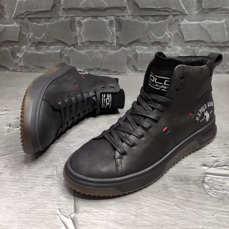 Ботинки кроссовки кожаные зимние Polo Ralph Lauren