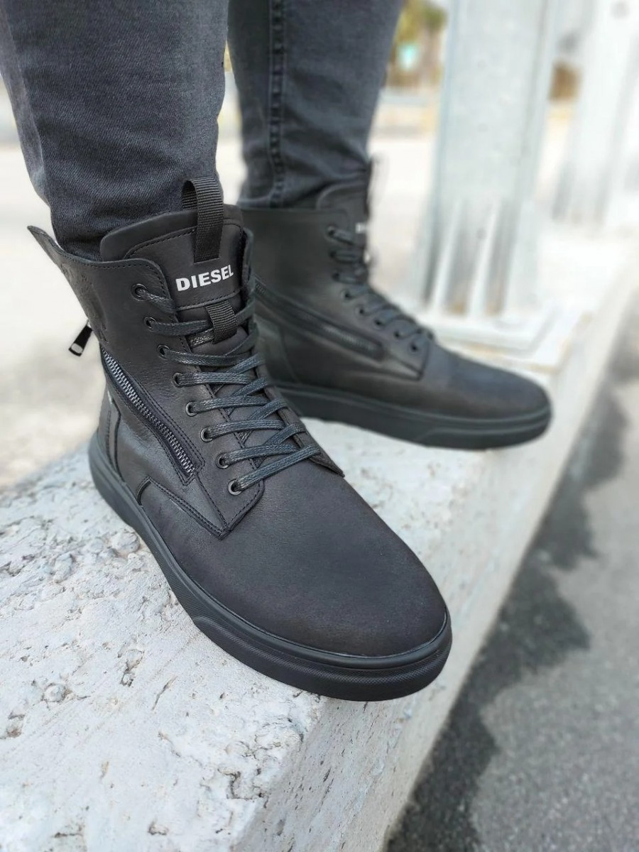 Зимние кожаные кроссовки на меху Diesel Black Wing