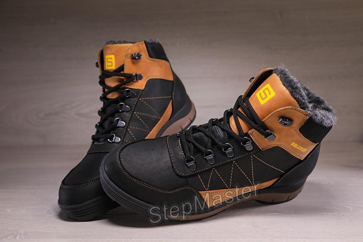 Ботинки кроссовки зимние кожаные на меху Salomon