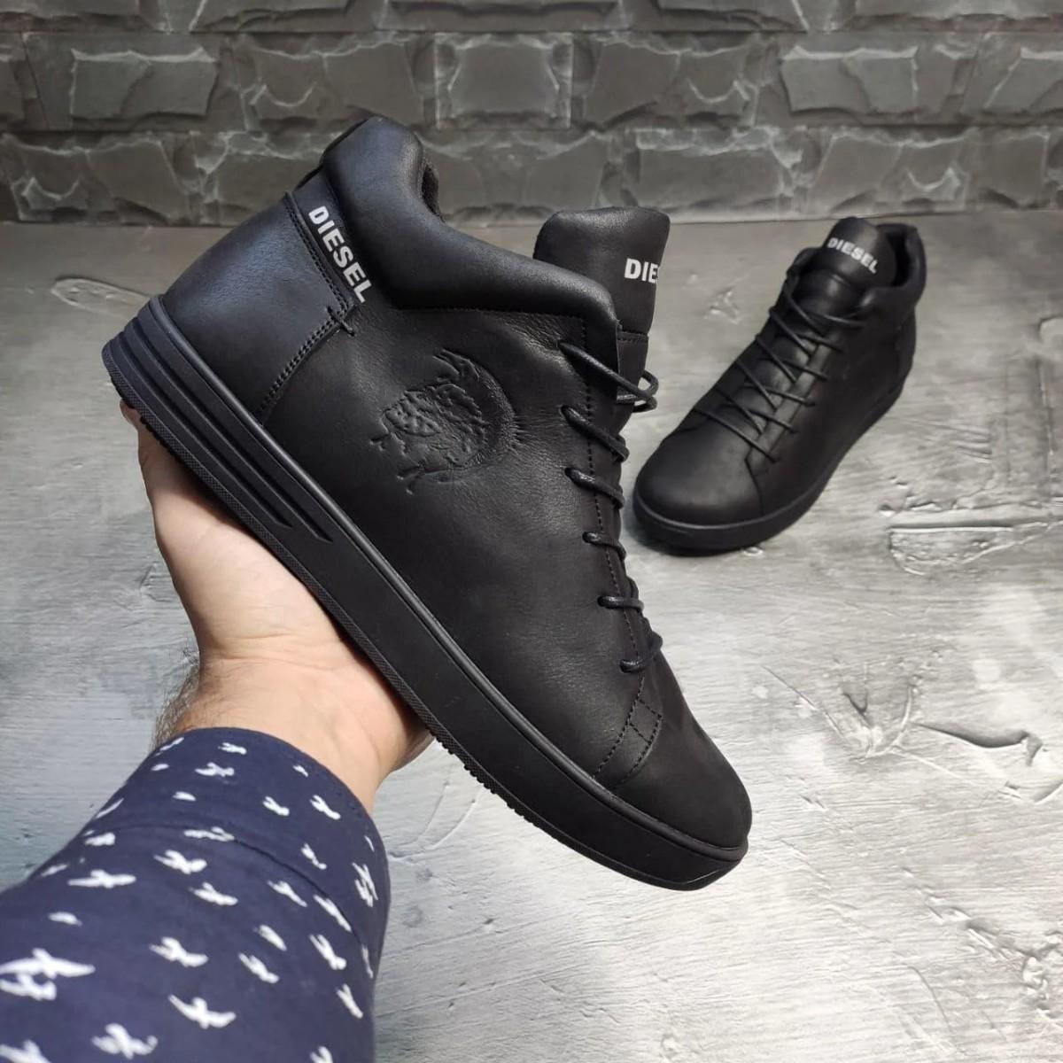 Зимние кожаные кроссовки на меху Diesel Pirate Black