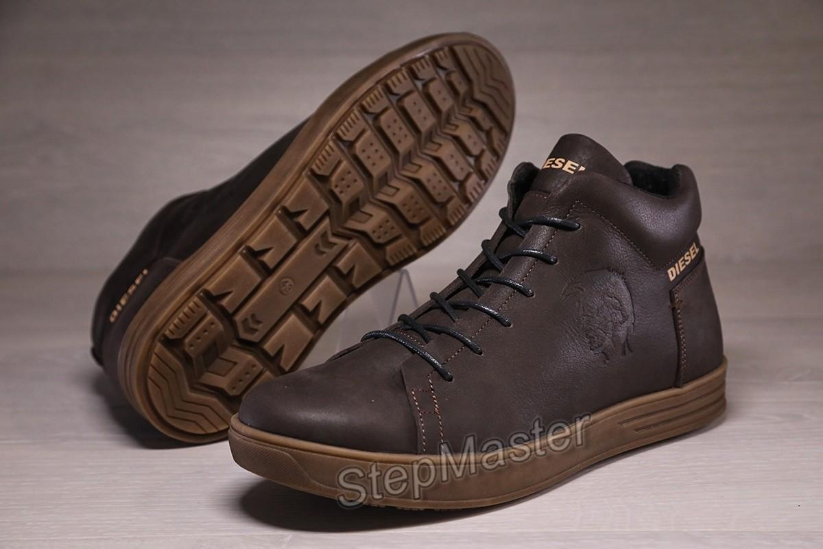 Зимние кожаные кроссовки на меху Diesel Pirate Brown