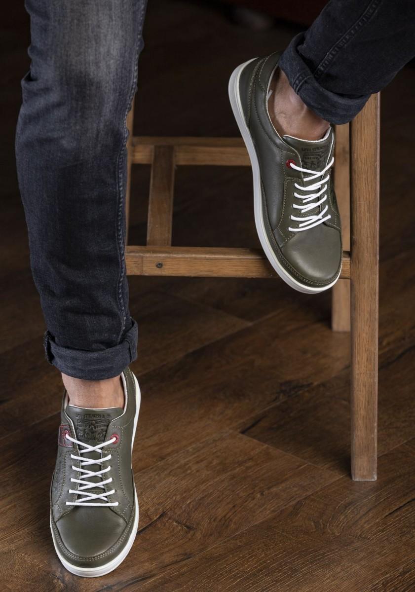 Кеды кроссовки мужские кожаные Levis California оливковые