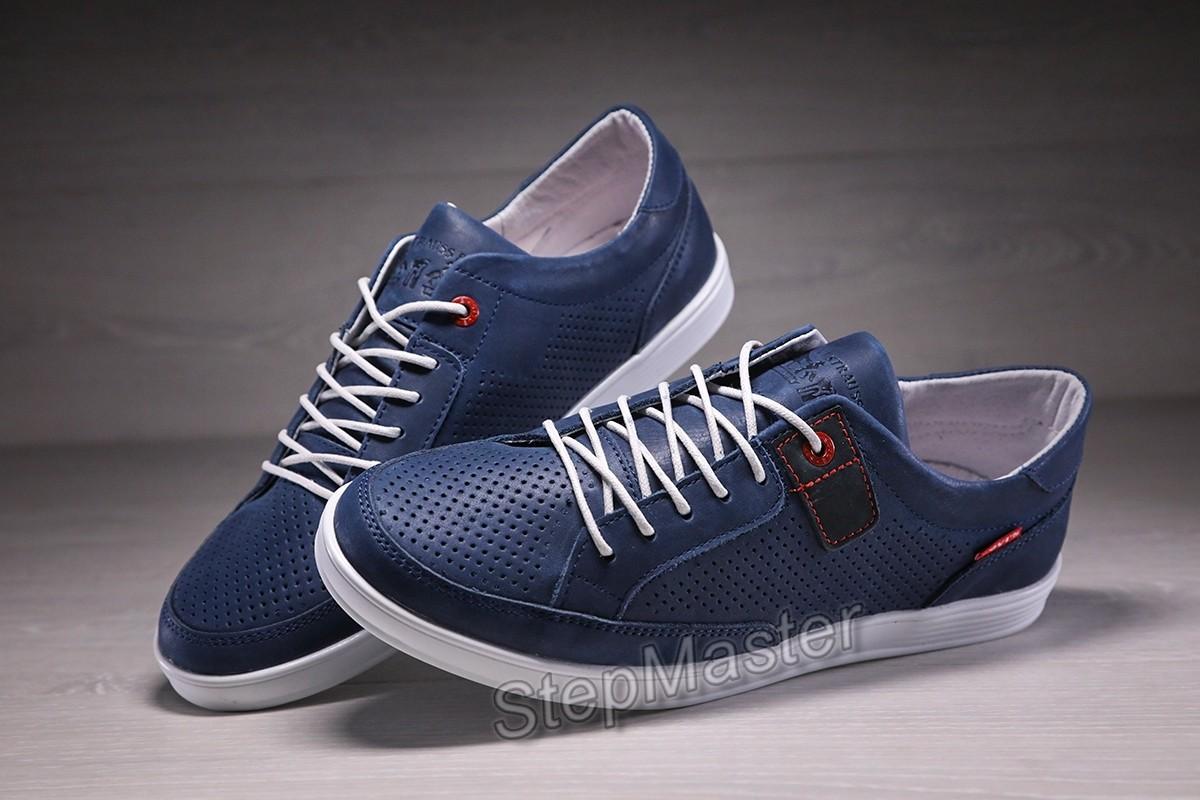 Кеды кроссовки мужские кожаные с перфорацией Levis California Denim