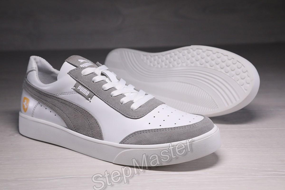 Мужские кожаные кеды, шкіряні кеди puma smash white/gray
