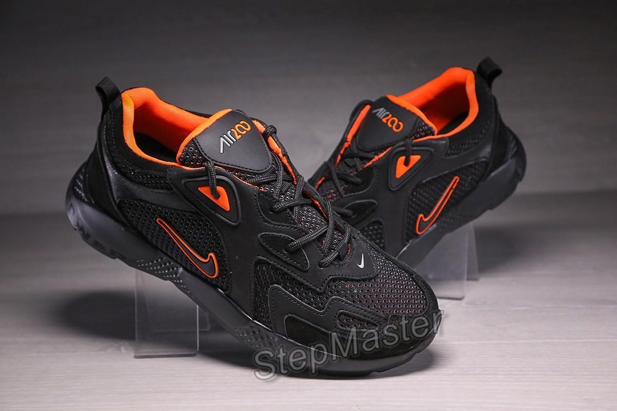 Кроссовки мужские Nike Air Power Black-Orange кожа-сетка