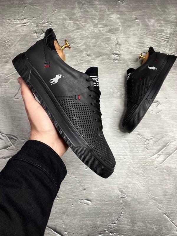 Кеды кроссовки мужские кожаные Polo Ralph Lauren черные с перфорацией