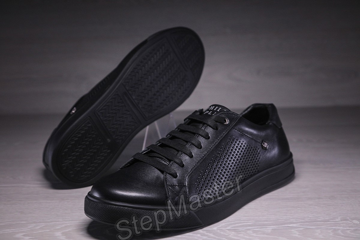 Мужские кожаные кеды кроссовки с перфорацией Philipp Plein