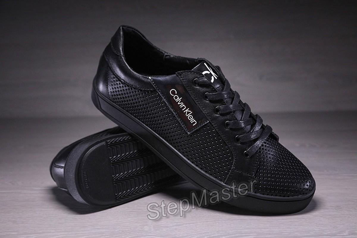 Мужские кожаные кеды кроссовки с перфорацией Calvin Klein Silver Touch