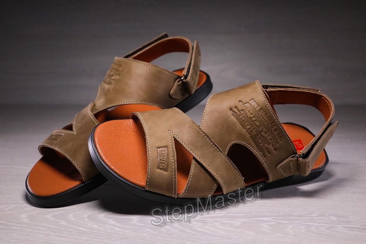Мужские кожаные сандалии-шлепанцы Levis Olive
