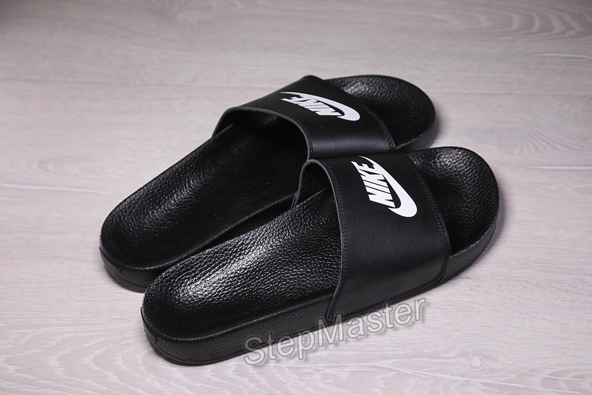 Шлепанцы мужские кожаные Nike Benassi Black