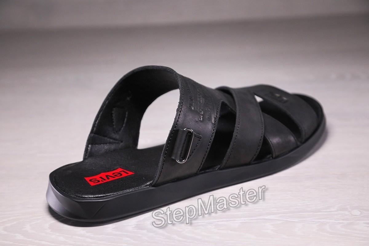 Мужские кожаные сандалии-шлепанцы Levis Black