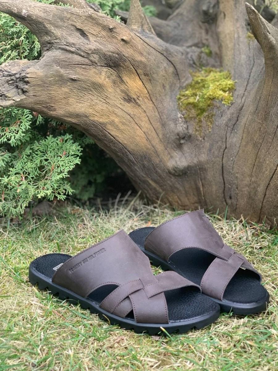 Шлепанцы мужские кожаные Tommy Hilfiger Brown