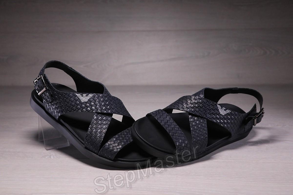 Мужские кожаные сандалии Armani синие