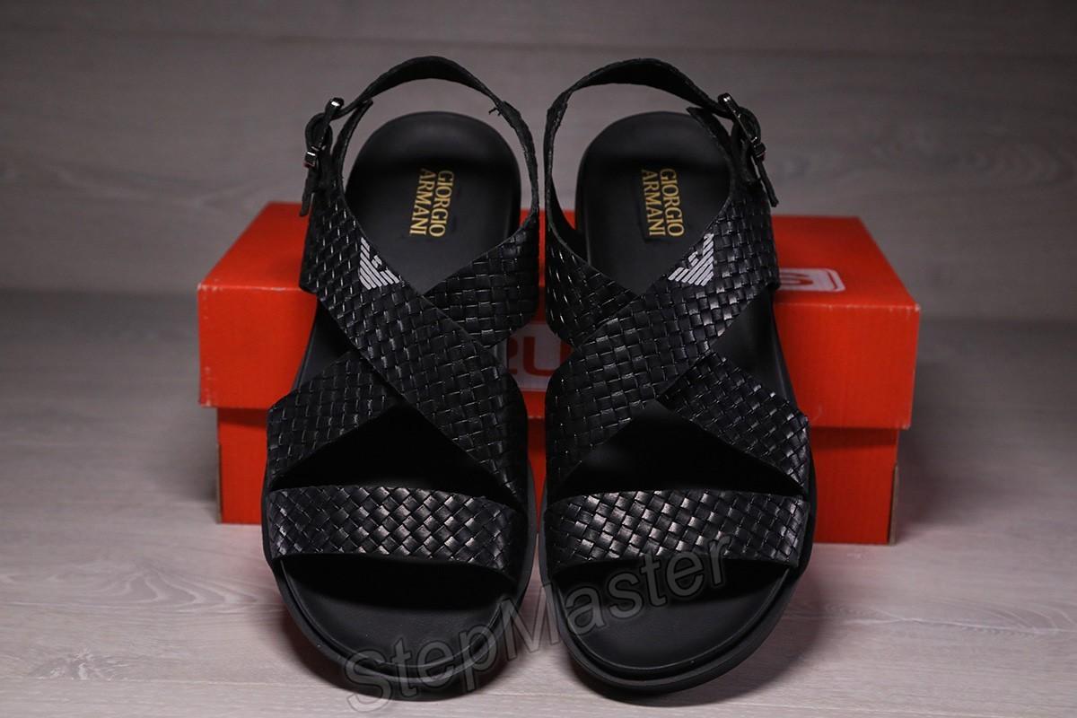 Мужские кожаные сандалии Armani черные