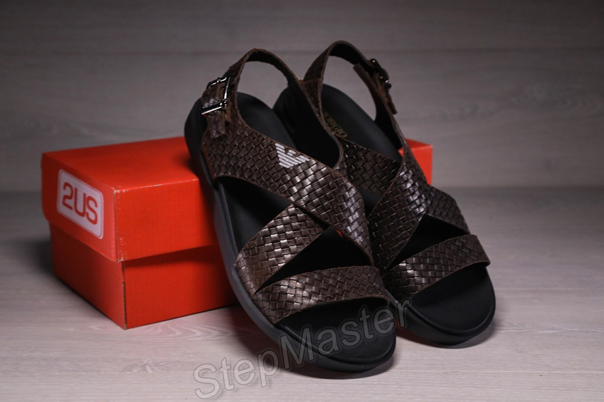 Мужские кожаные сандалии Armani коричневые