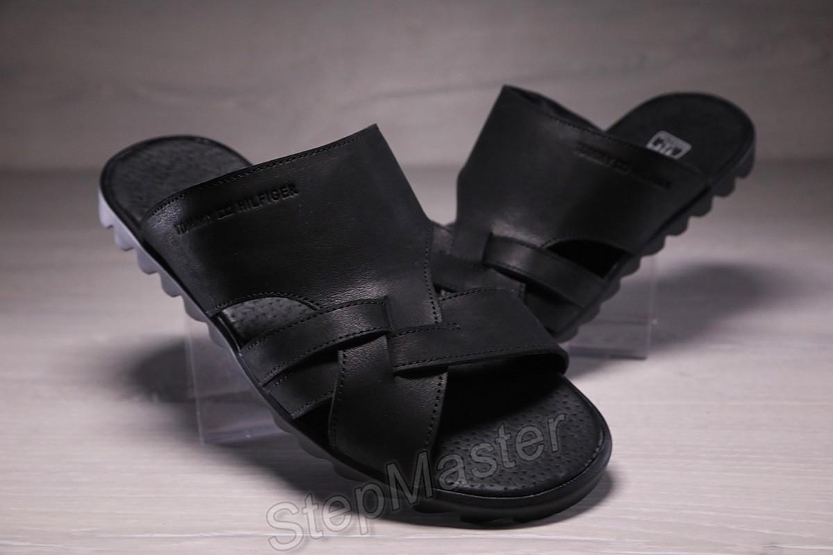 Шлепанцы мужские кожаные Tommy Hilfiger Black
