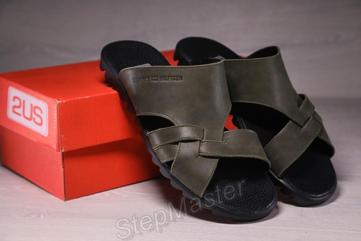 Шлепанцы мужские кожаные Tommy Hilfiger Olive