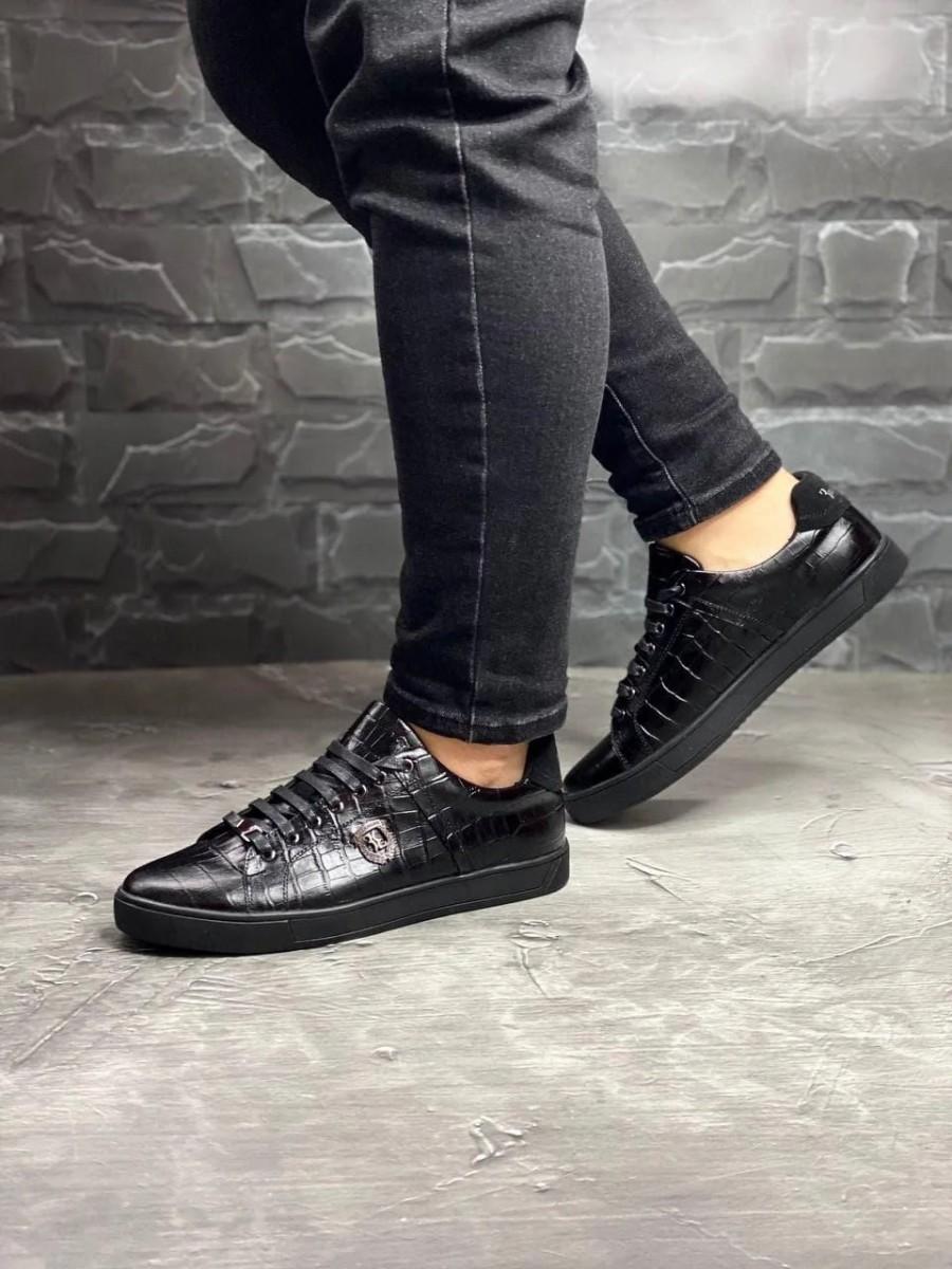 Кеды кроссовки мужские кожаные Billionaire Alligatore
