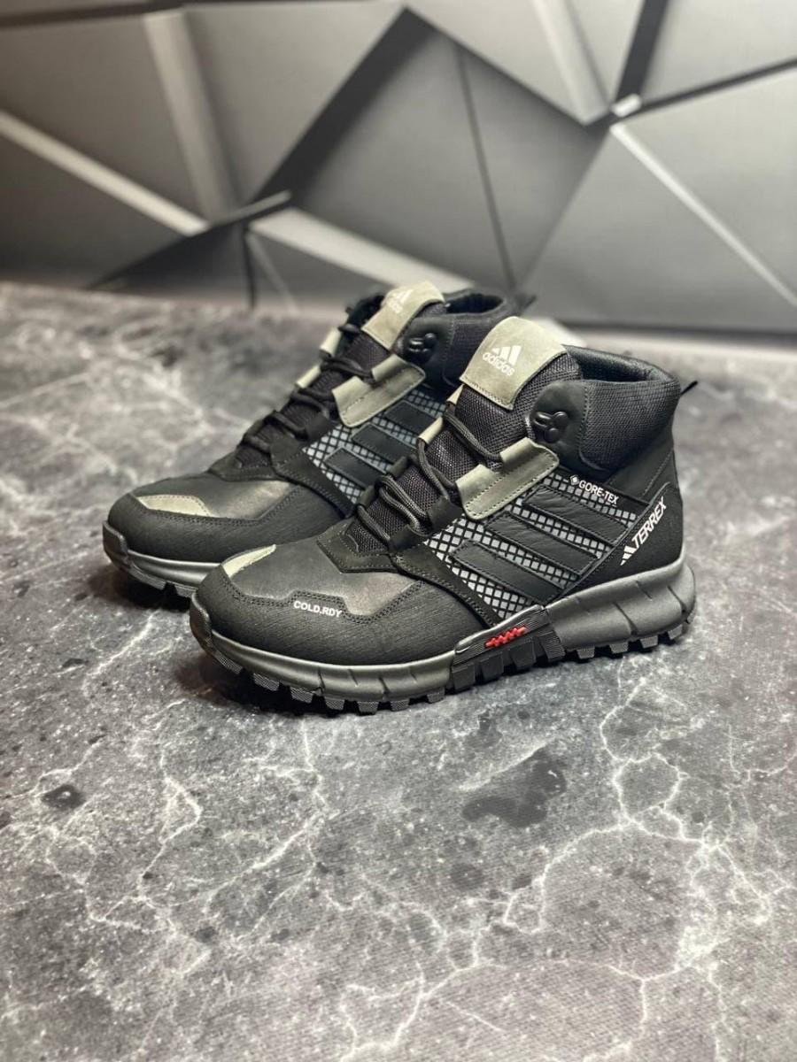 Зимние кожаные ботинки кроссовки на меху Adidas Polar Ranger