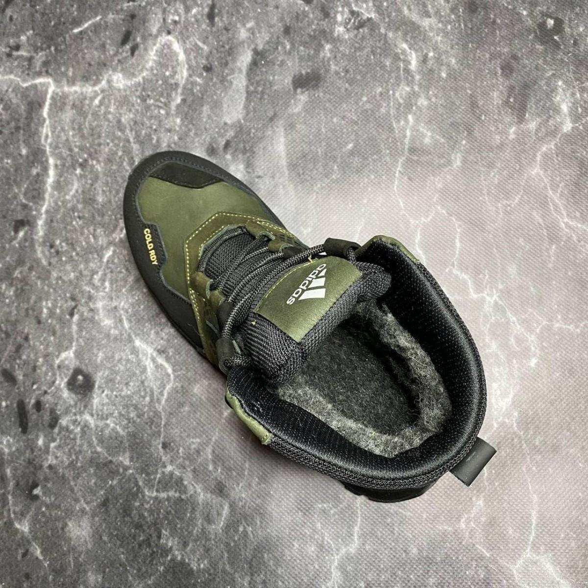 Зимние кожаные ботинки кроссовки на меху Adidas Polar Ranger Olive